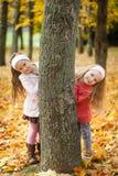 2 девушки играя в парке осени Стоковые Фотографии RF