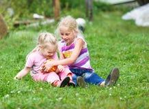 2 девушки играя на зеленой траве Стоковое Фото