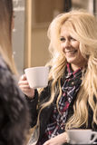 2 девушки имея потеху пока выпивающ кофе Стоковое фото RF