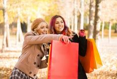 2 девушки имея приятную беседу в парке Стоковые Изображения