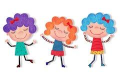 девушки иллюстрация детей персонажей из мультфильма цветастая графическая Стоковые Изображения
