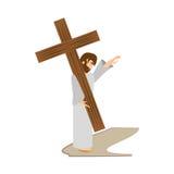 девушки комфорта Иисуса Христоса - через станцию crucis иллюстрация вектора