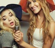 2 девушки красоты с микрофоном Стоковое Изображение RF