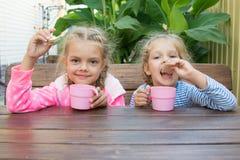 2 девушки на завтраке на чае веранды выпивая с waffles Стоковое Изображение RF