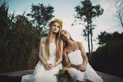 2 девушки на побережье на пристани Стоковая Фотография RF