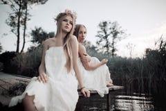 2 девушки на побережье на пристани Стоковое Изображение RF
