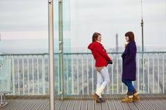 2 девушки на платформе замечания Montparnasse возвышаются Стоковое фото RF