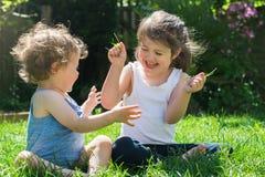 девушки немного outdoors играя Стоковое Фото