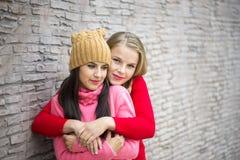 2 девушки обнимая и имея потеху Стоковое Изображение
