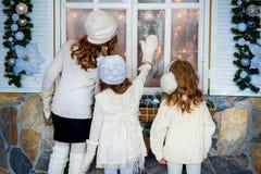 3 девушки около рождества Стоковое Изображение RF