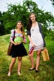 2 девушки получая готовый для пикника Стоковое фото RF
