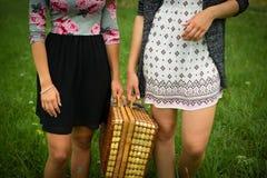 2 девушки получая готовый для пикника Стоковая Фотография