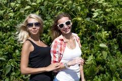 2 девушки представляя в зеленых кустах, стеклах, блондинке и брюнет Стоковые Фотографии RF