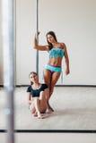 2 девушки представляя около поляка Стоковые Фотографии RF