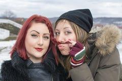 2 девушки представляя для смешного портрета в зиме Стоковое Изображение RF