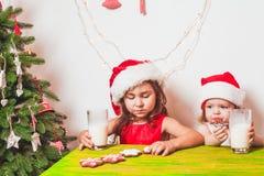 2 девушки приближают к рождественской елке Стоковые Фотографии RF