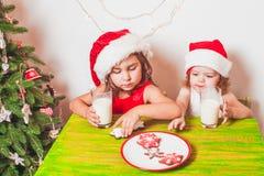 2 девушки приближают к рождественской елке Стоковая Фотография RF