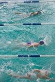 3 девушки плавая на бассейне спорта Стоковая Фотография