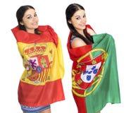 2 девушки сестры - Португалия и Испания - друзья навсегда Стоковые Фото