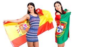 2 девушки сестры - Португалия и Испания - друзья навсегда Стоковые Изображения RF