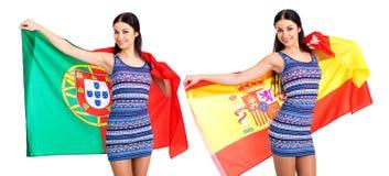 2 девушки сестры - Португалия и Испания - друзья навсегда Стоковое Изображение