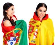 2 девушки сестры - Португалия и Испания - друзья навсегда Стоковая Фотография RF
