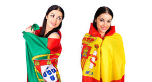 2 девушки сестры - Португалия и Испания - друзья навсегда Стоковое фото RF