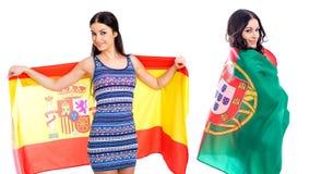 2 девушки сестры - Португалия и Испания - друзья навсегда Стоковое Изображение RF