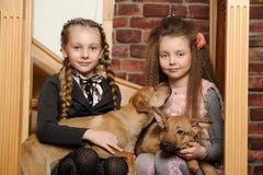 2 девушки сестры с щенятами Стоковые Фотографии RF