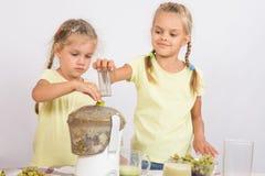 2 девушки сжимали сок в juicer Стоковые Изображения