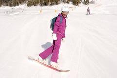 2 девушки сидят на наклонах лыжи Стоковые Фото