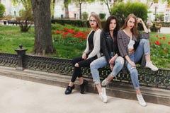 3 девушки сидят на предпосылке парка Стоковое фото RF