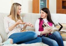 2 девушки сидя на софе и злословить Стоковые Изображения