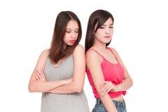 2 девушки смотря один другого сердитый Стоковые Изображения