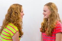 2 девушки смотря один другого Стоковое Изображение