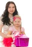 2 девушки с коробками для подарков Стоковое Изображение RF