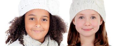 2 девушки с крышкой шерстей Стоковое фото RF