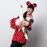 2 девушки с масками мыши Стоковое фото RF