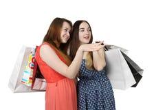 2 девушки с мешками Стоковые Фотографии RF