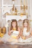 2 девушки с подарками на рождество Стоковая Фотография RF