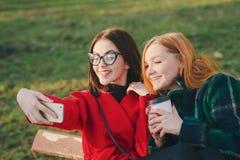 2 девушки с устройством Стоковое Изображение RF