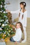 2 девушки украшают рождественскую елку Стоковая Фотография