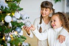 2 девушки украшают рождественскую елку Стоковое Изображение