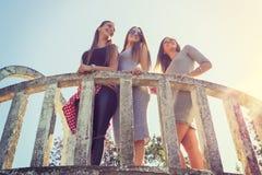 3 девушки усмехаясь и имея потеху внешнюю Стоковые Изображения RF