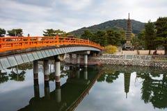 легендарная пагода 13 около реки Uji, Киото, Японии Стоковая Фотография