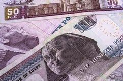 Египетская номинальная стоимость денег 100, 50 и 10 фунтов Стоковое Изображение