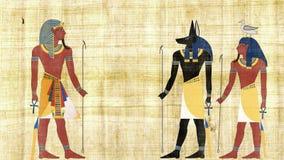 Египетские боги Anubis и Geb в переднем фараоне видеоматериал