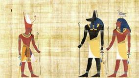 Египетские боги Anubis и Geb перед всем фараоном Египта акции видеоматериалы
