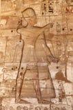 Египетские иероглифы в виске Medinet Habu, Луксоре, Египте стоковое фото