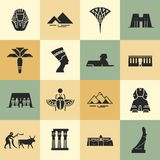 Египетские символы, ориентиры, и знаменитости в плоских значках стиля иллюстрация штока